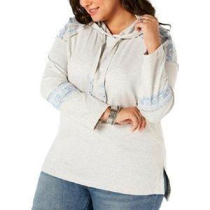 Style&CO 2X Gray Hoodie Sweatshirt 5A170